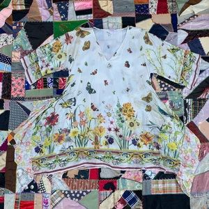 Johnny Was Silk Floral Butterfly Long Blouse